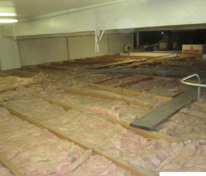 Damaged insulation from a water loss.