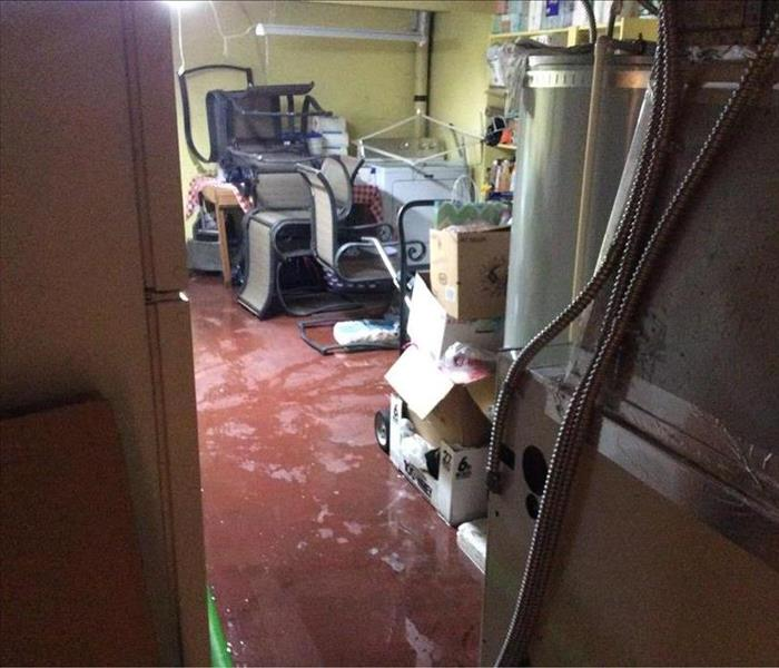 A flooded basement from outside ground water.